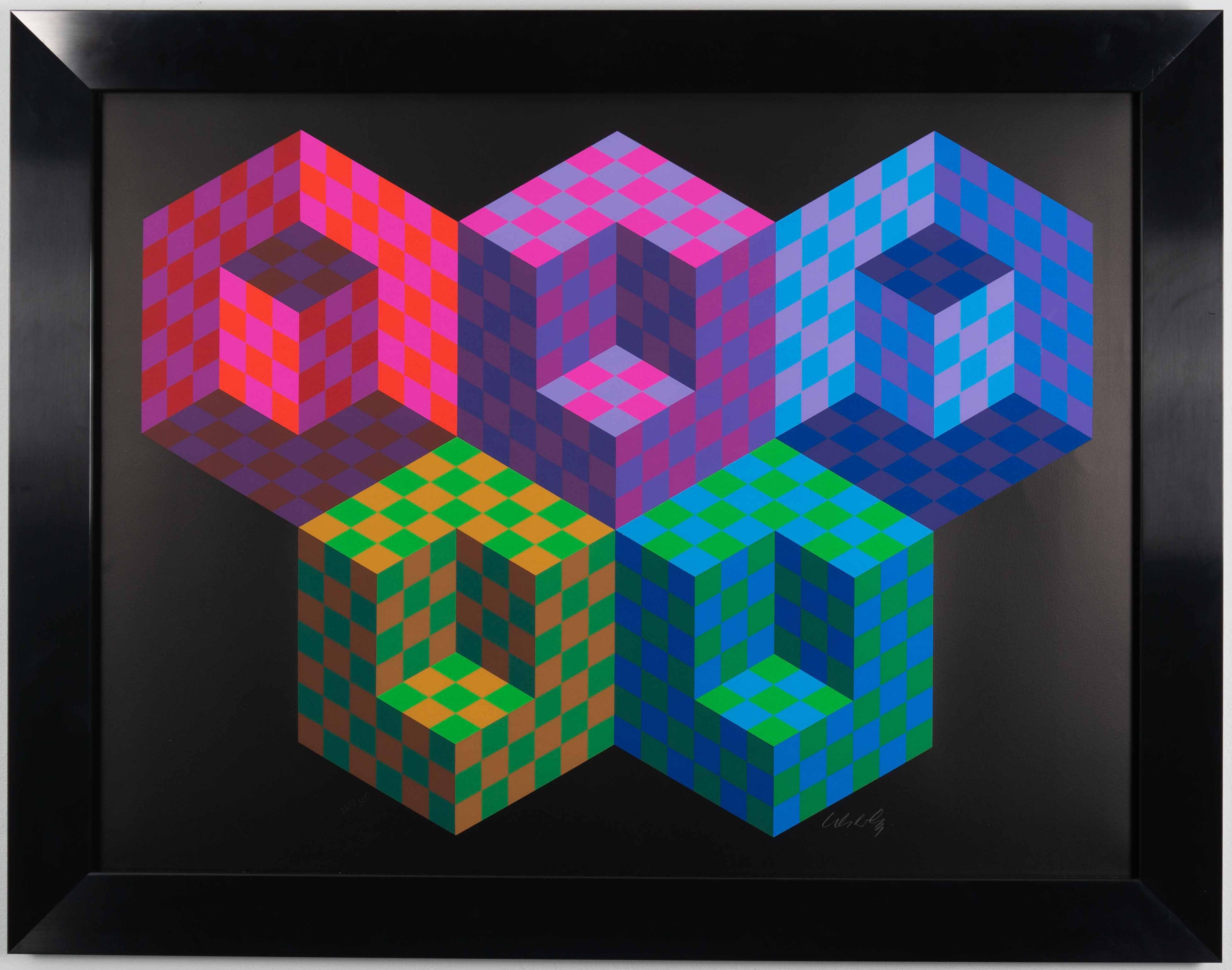 Victor Vaserely - Hexa 5 - framed 14-09-2019 exp (1 van 2)